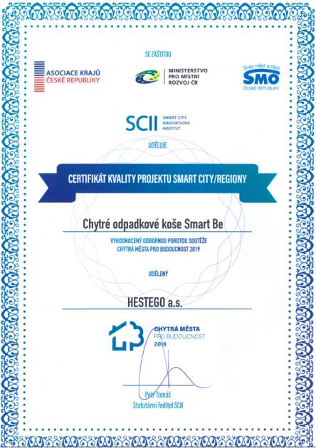 Certifikát kvality projektu Smart City/Regiony